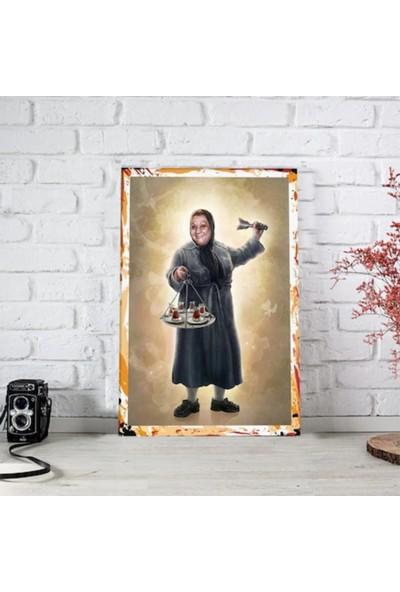 Ferman Hediyelik Adile Naşit Ahşap Retro Poster 17,5 x 27,5 cm