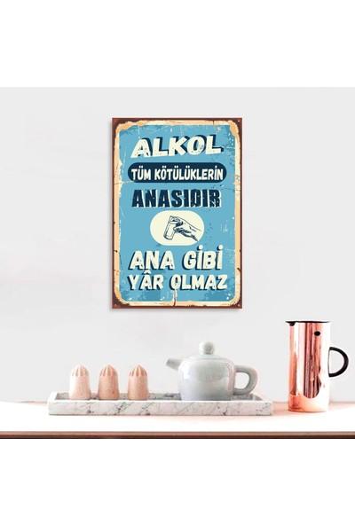Ferman Hediyelik Alkol Temalı Ahşap Retro Poster 17,5 x 27,5 cm