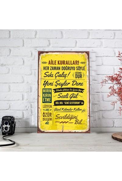Ferman Hediyelik Aile Kuralları Ahşap Retro Poster 17,5X27,5 cm