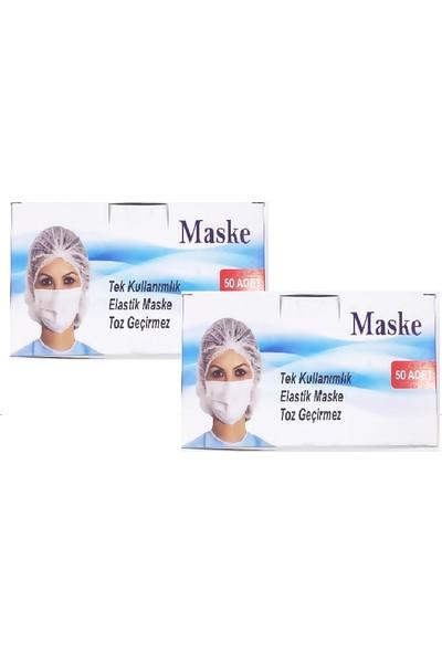 Rc Tek Kullanımlık 3 Katlı Telli Cerrahi Yüz Maske 50 Adet 2'li