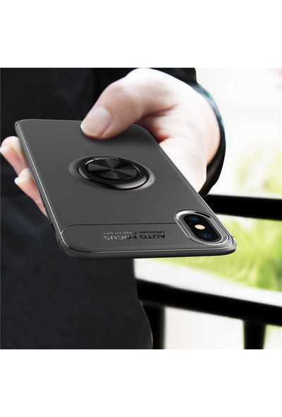 Case 4U Apple iPhone X-XS Kılıf Yüzüklü Darbeye Dayanıklı Arka Kapak Ravel Siyah
