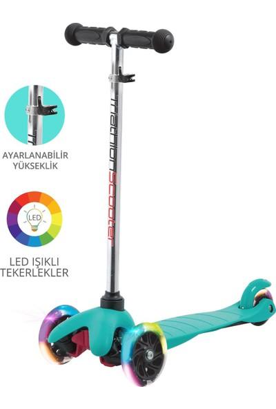 Triathlon T138 7 Renk LED Işıklı 3 Tekerlekli Yükseklik Ayarlı Scooter - Mavi