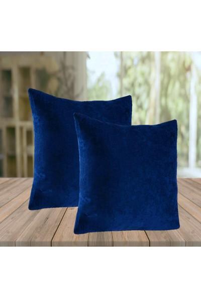 Jakist Dekoratif Yastık & Kırlent Kılıfı 43 x 43 cm Düz Renk 2'li Mavi