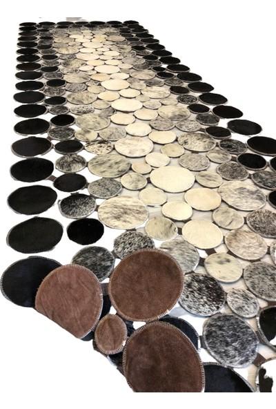 Bienna Fur Siyah Beyaz Doğal Dana Deri Halı 100 x 400 cm
