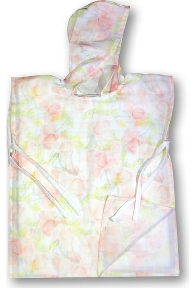 Mimiko Organik Sulu Boya Çiçek Desenli Kapşonlu Müslin Panço