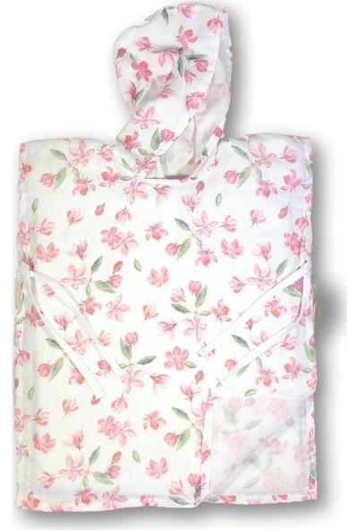 Mimiko Organik Çiçek Desenli Kapşonlu Müslin Panço