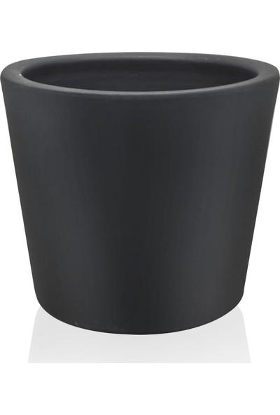 The Mia Kiremit Saksı 23 x 20 cm Siyah