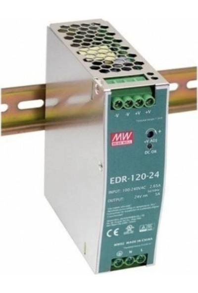 MEANWELL EDR-120-24 Tek Faz Ray Montaj Güç Kaynağı
