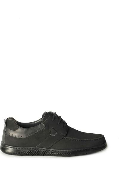 J Club Hakiki Deri Bağcıklı Siyah Erkek Ayakkabı