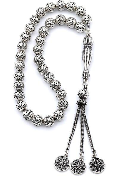 Akyüz Gümüş Telkari Işlemeli Oksitli Gümüş Tesbih 057