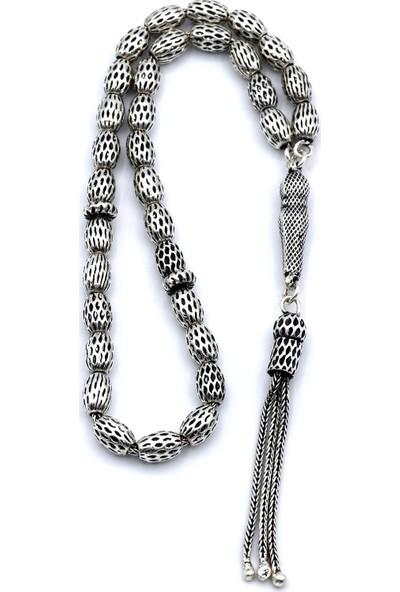 Akyüz Gümüş Telkari Işlemeli Oksitli Gümüş Tesbih 058