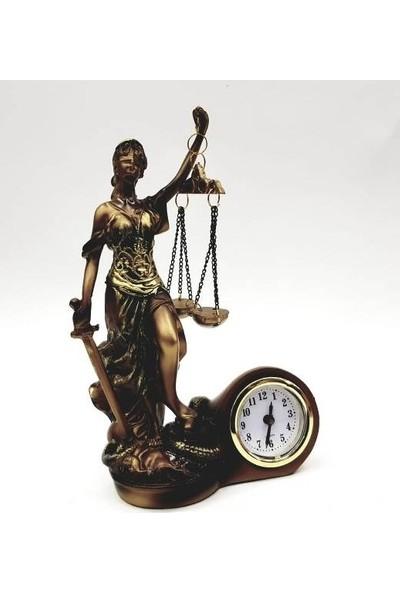 Gold Dekor Adalet Terazisi Saatli