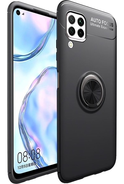 Teleplus Huawei P40 Lite Kılıf Ravel Yüzüklü Standlı Silikon Siyah + Nano Ekran Koruyucu