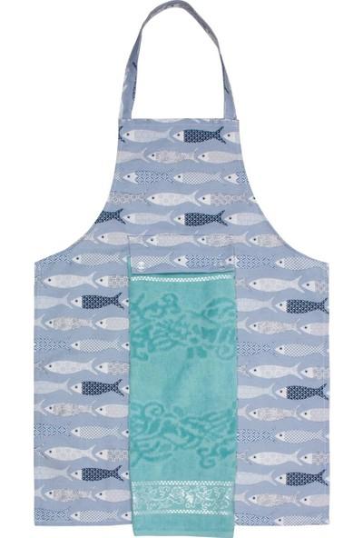 ALAS Havlulu Mutfak Önlüğü Balık Desen Turkuaz Renk
