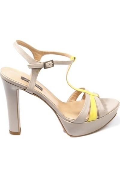 Andrea Pinto Kadın Topuklu Sandalet Gri Sarı 623