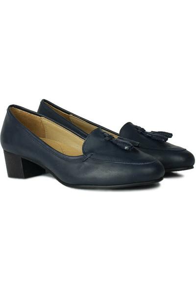 Canilh 840177 418 Kadın Lacivert Deri Topuklu Ayakkabı