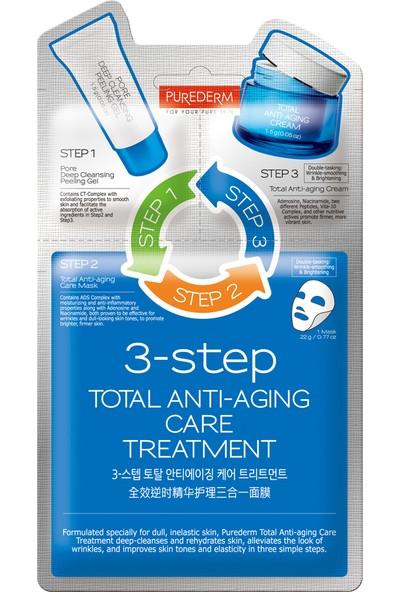 Purederm Anti-Aging 3 Aşamalı Bakım Seti - 1. Peeling 2. Nemlendirici Krem 3. Nemlendirici Maske 3lü