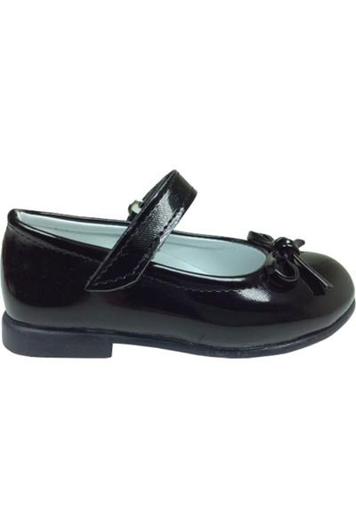 Ortaç Bebe Siyah Rugan Siyah Tbn Bıyık Fiyonk Kız Çocuk Babet Ayakkabı İçi Deri Abiye Fantazi Düğün