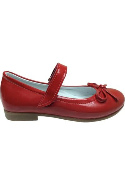 Ortaç Patik Kırmızı Rugan Bıyık Fiyonk Kız Çocuk Babet Ayakkabı İçi Deri Abiye Fantazi Düğün