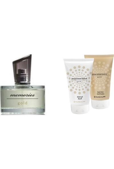 Huncalife Memories Gold Bayan Kadın Parfüm Edt 60 ml Duş Jeli ve Losyon