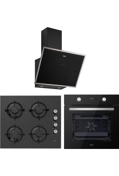 Esty Siyah Cam Ankastre Set - ( Fırın AEF6603B02 - Ocak ACO5335B01 - Davlumbaz 3473B6)