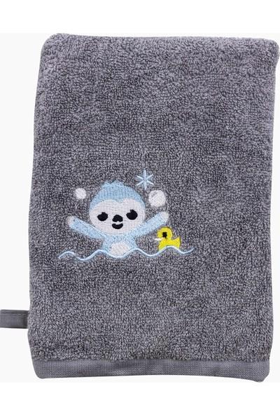 Uygun Bebe Banyo Havlusu 2 Parça Takım Tembel Hayvan Desenli - Gri