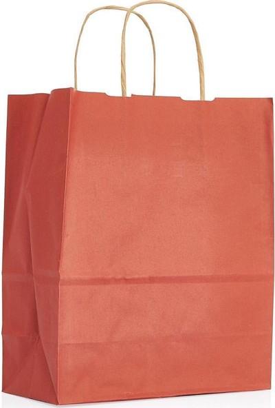 Umur Kırmızı Büküm Saplı Kağıt Çanta 12 x 25 x 30 cm 50'li