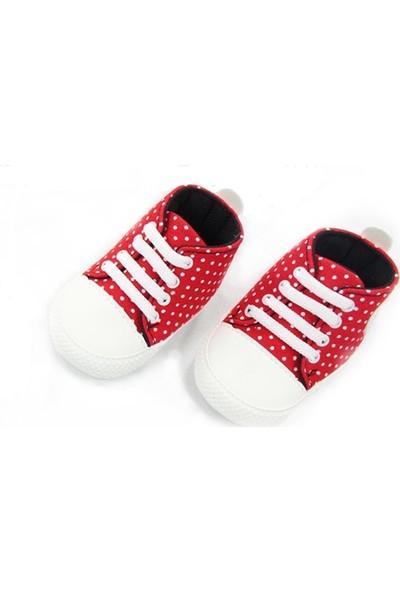 Leoncino Kırmızı - Beyaz Puantiyeli Bebek Converse Patik İlk Adım Ayakkabısı