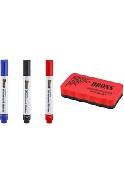 Brons Doldurulabilir Tahta Kalemi 3 Renk + Manyetik Tahta Mıknatıslı Silgi 1 Adet B-Ks2