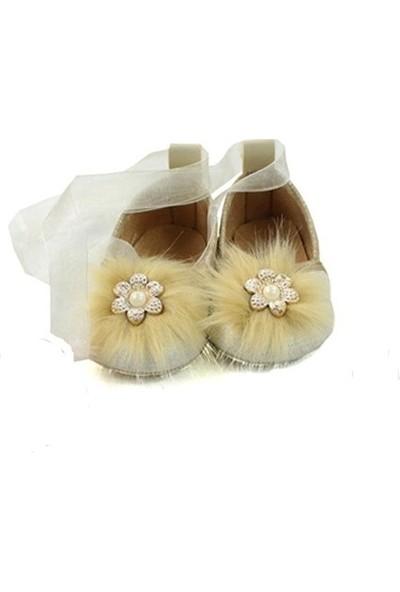 Love Baby Tüylü Bebek Babet İlk Adım Ayakkabısı Vizon