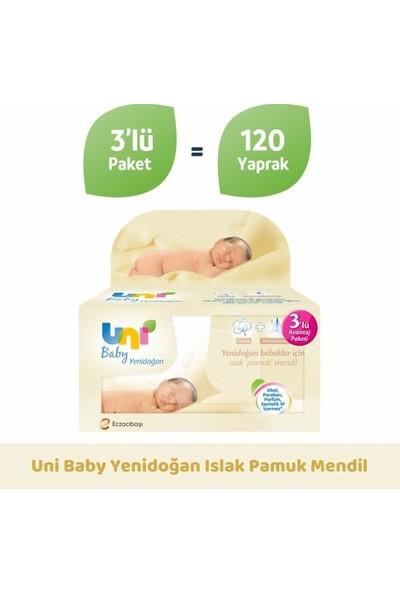 Uni Baby Yenidoğan Islak Pamuk Mendil 3'lü 40'lı