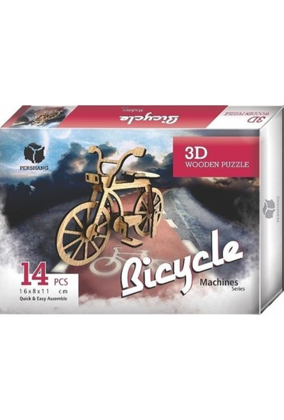 Pershang Bisiklet 14 Parça Ahşap 3D Puzzle