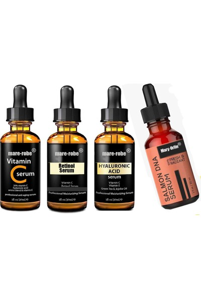 Somon Dna+Hyaluronıc Acıd+Retınol +C Vitamin Serum 4 Lü Muhteşem Set