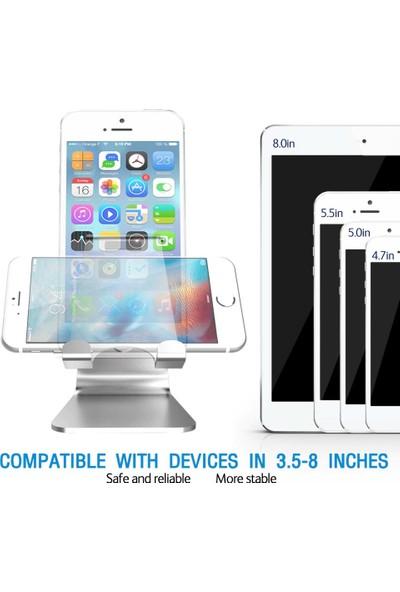 Wlue Masaüstü Alüminyum Telefon ve Tablet Standı Dock Gümüş