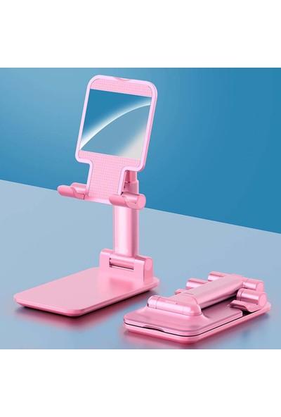 Wlue Masaüstü Katlanabilir Tablet ve Telefon Tutucu Stand Aynalı Pembe