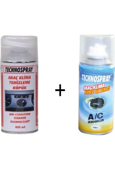 Technospray Araç Klima Temizleme ve Koku Giderici (Koku Bombası) Seti