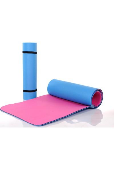 Active Pilates Minderi - Yoga Matı - Egzersiz Minderi 9 mm Çift Taraflı Pembe - Mavi