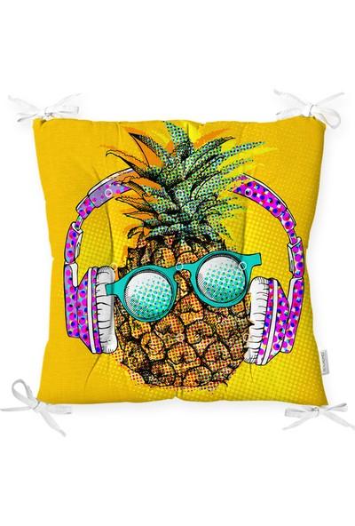 RealHomes Summer Ananas Tasarımlı Pofidik Kare Sandalye Minderi