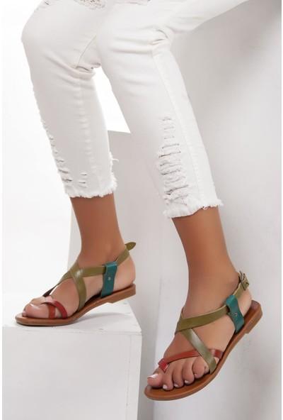 Deripabuc Çeşme Deri Kadın Deri Sandalet