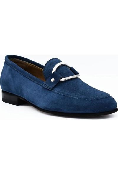 Fertini Deri Kot Mavi Süet Tokalı Kadın Günlük Ayakkabı