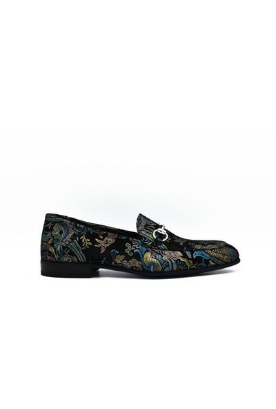 Fertini Deri Mavi Şal Loafer Erkek Ayakkabı