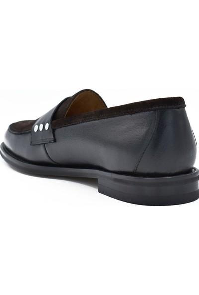 Fertini Deri Siyah Kahve Kadın Günlük Ayakkabı