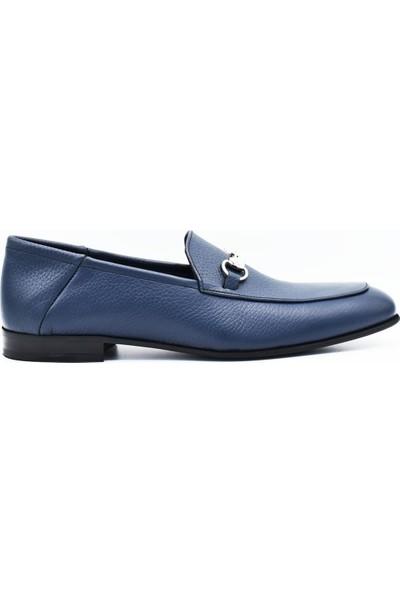 Fertini Deri Tokalı Lacivert Loafer Erkek Ayakkabı