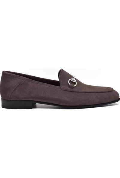 Fertini Deri Tokalı Taupe Süet Loafer Erkek Ayakkabı