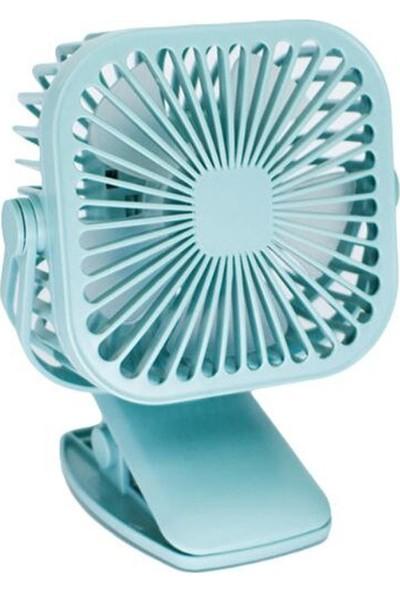 Coverzone Mini Taşınabilir 360 Derece Masaüstü ve Elde Işıklı Klipsli Şarjlı Vantilatör Mavi