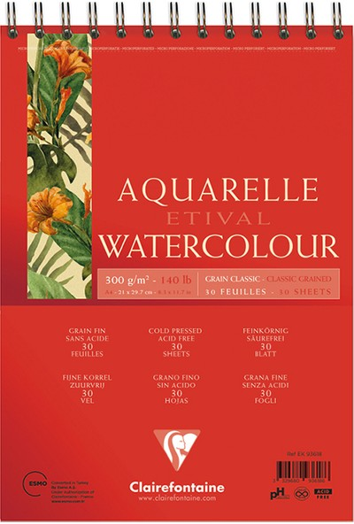 Clairefontaine Resim Defteri Etival Watercolor Suluboya A4 300Gr 30 Sayfa 93618