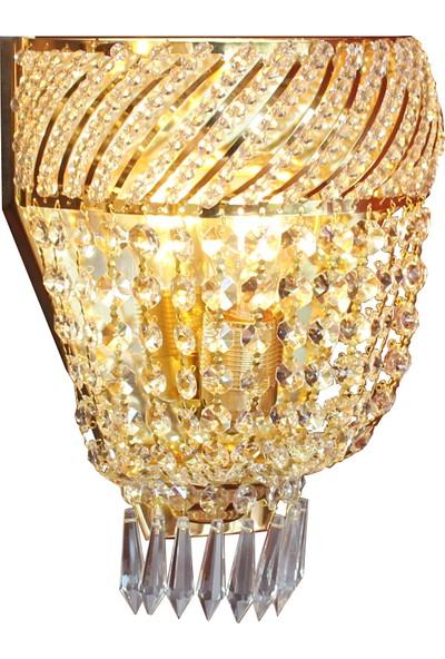 Üstün Avize Taç Model Kristal Taşlı Şık Tasarım Duvar Lambası Pirinç Aplik