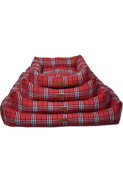 Dubex Danish Kedi Köpek Yatağı Kareli Kırmızı M