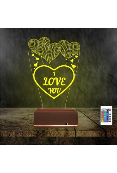 Algelsin 3 Boyutlu 3D LED I Love You Yazılı Sevgiliye Eşe Masa Lambası