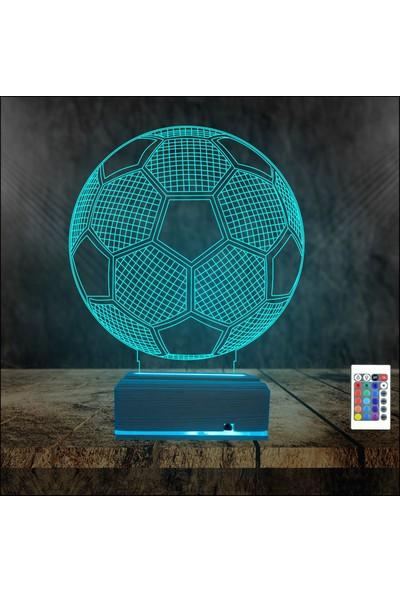 Algelsin 3 Boyutlu Futbol Topu Tasarımlı 16 Renkli Kumandalı Masa Lambası